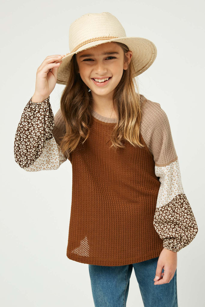 GY1341 Brown Girls Contrast Woven Sleeve Top Front