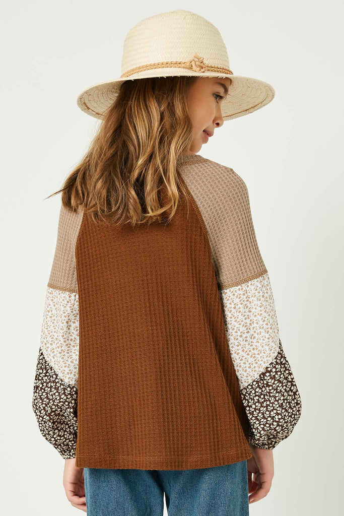 GY1341 Brown Girls Contrast Woven Sleeve Top Back
