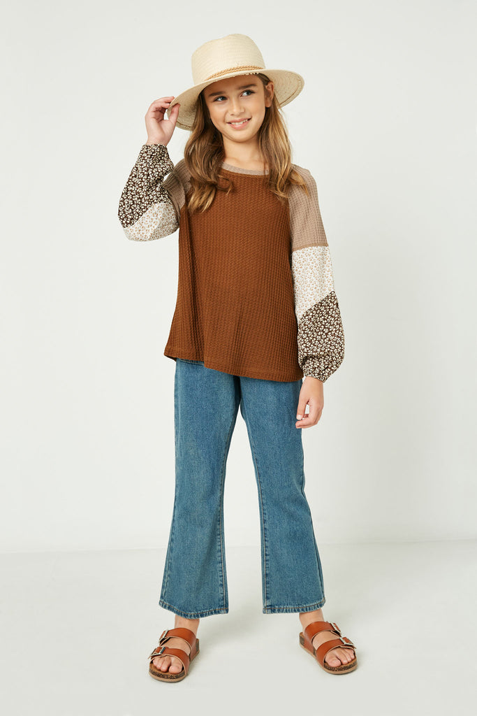 GY1341 Brown Girls Contrast Woven Sleeve Top Full Body