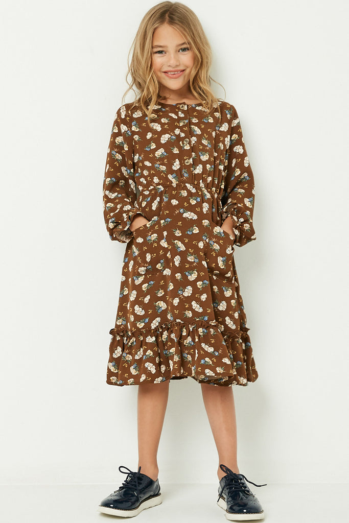GY1350 Brown Girls Floral Print Ruffle Midi Dress Full Body
