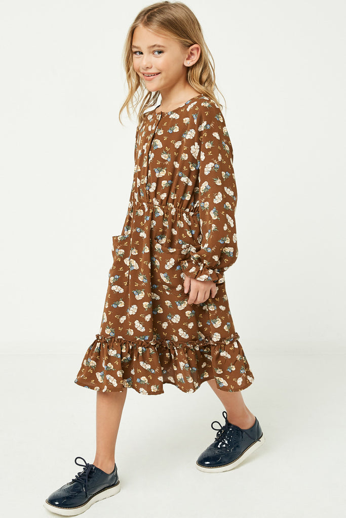 GY1350 Brown Girls Floral Print Ruffle Midi Dress Side