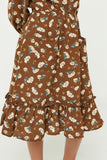 GY1350 Brown Girls Floral Print Ruffle Midi Dress Detail