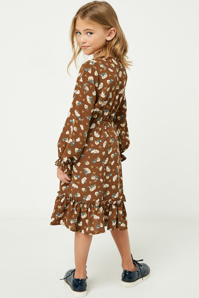 GY1350 Brown Girls Floral Print Ruffle Midi Dress Back
