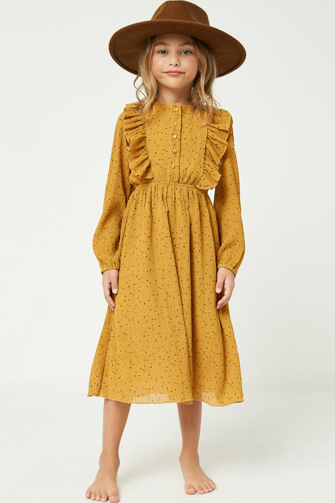 GY2113 Mustard Girls Ruffle Button Down Midi Dress Full Body