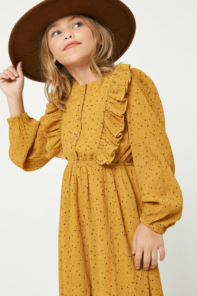 GY2113 Mustard Girls Ruffle Button Down Midi Dress Detail