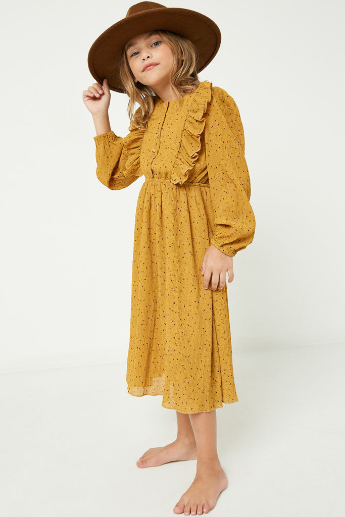 GY2113 Mustard Girls Ruffle Button Down Midi Dress Side