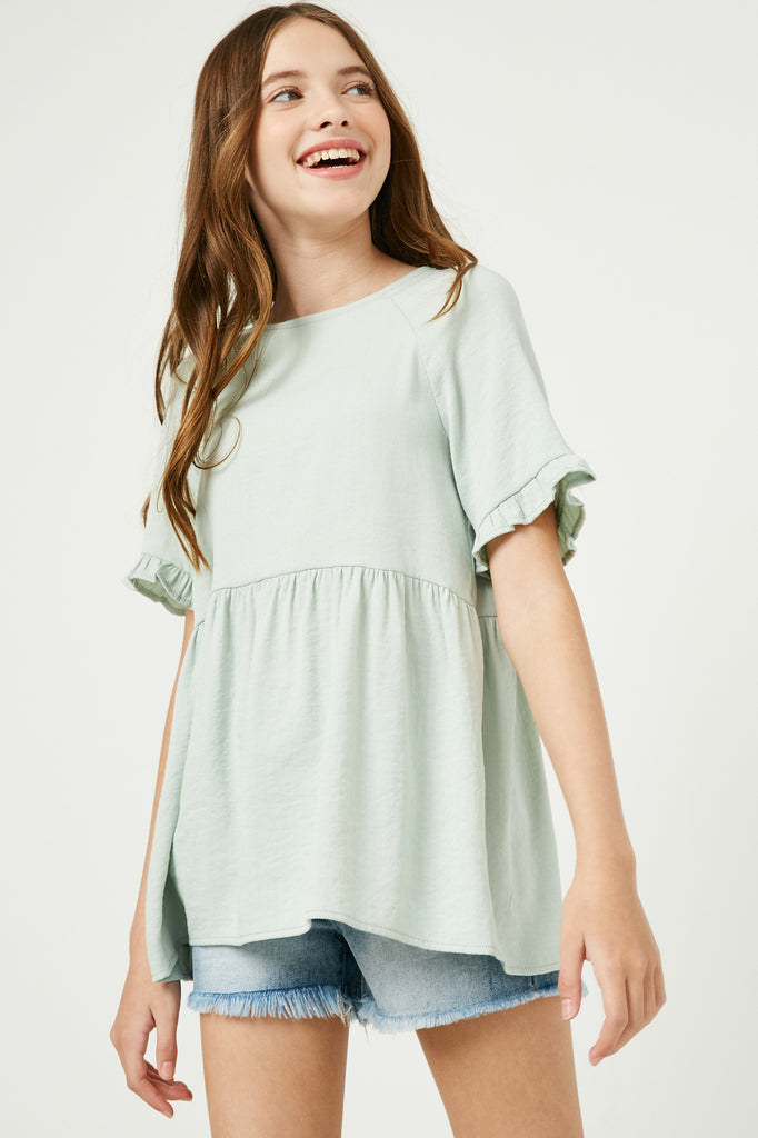 GY2509 Mint Girls Ruffle Sleeve Button Back Peplum Top Front