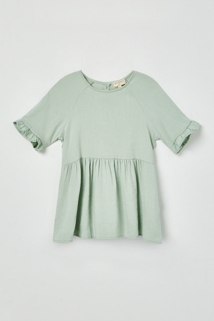 GY2509 Mint Girls Ruffle Sleeve Button Back Peplum Top Flat Front