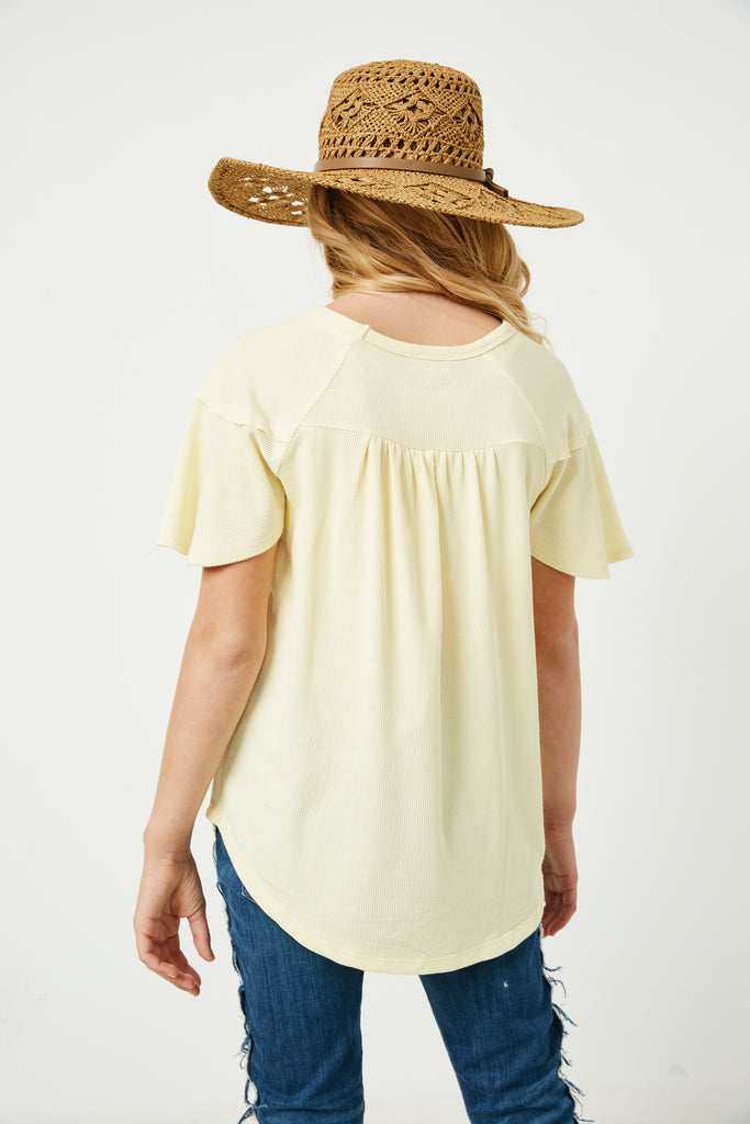GY2617 Yellow Girls Paneled Flutter Sleeve Ribbed Knit Top Back