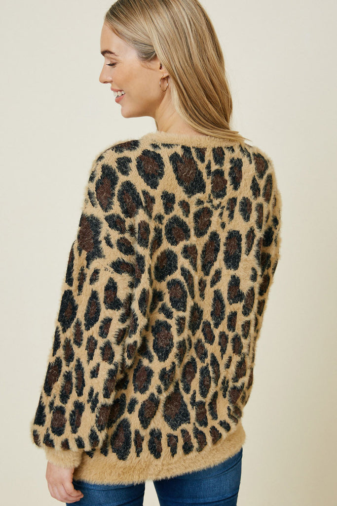 Tan Leopard Mohair Pullover Sweater Back