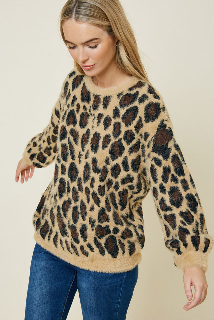 Tan Leopard Mohair Pullover Sweater Close Up