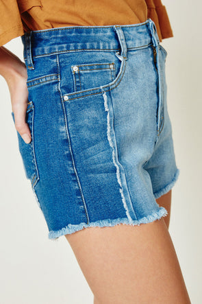 Women's Frayed Colorblock Denim Shorts Full Body