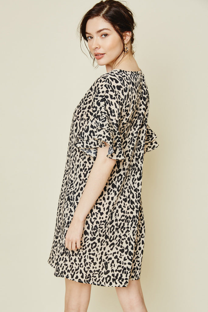 Women's Mauve Leopard Ruffle Sleeve Shift Dress Back