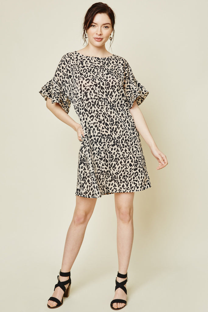 Women's Mauve Leopard Ruffle Sleeve Shift Dress Side