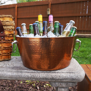 BREKX Anchored Hammered Stainless Steel Beverage Tub in Rose Copper Finish