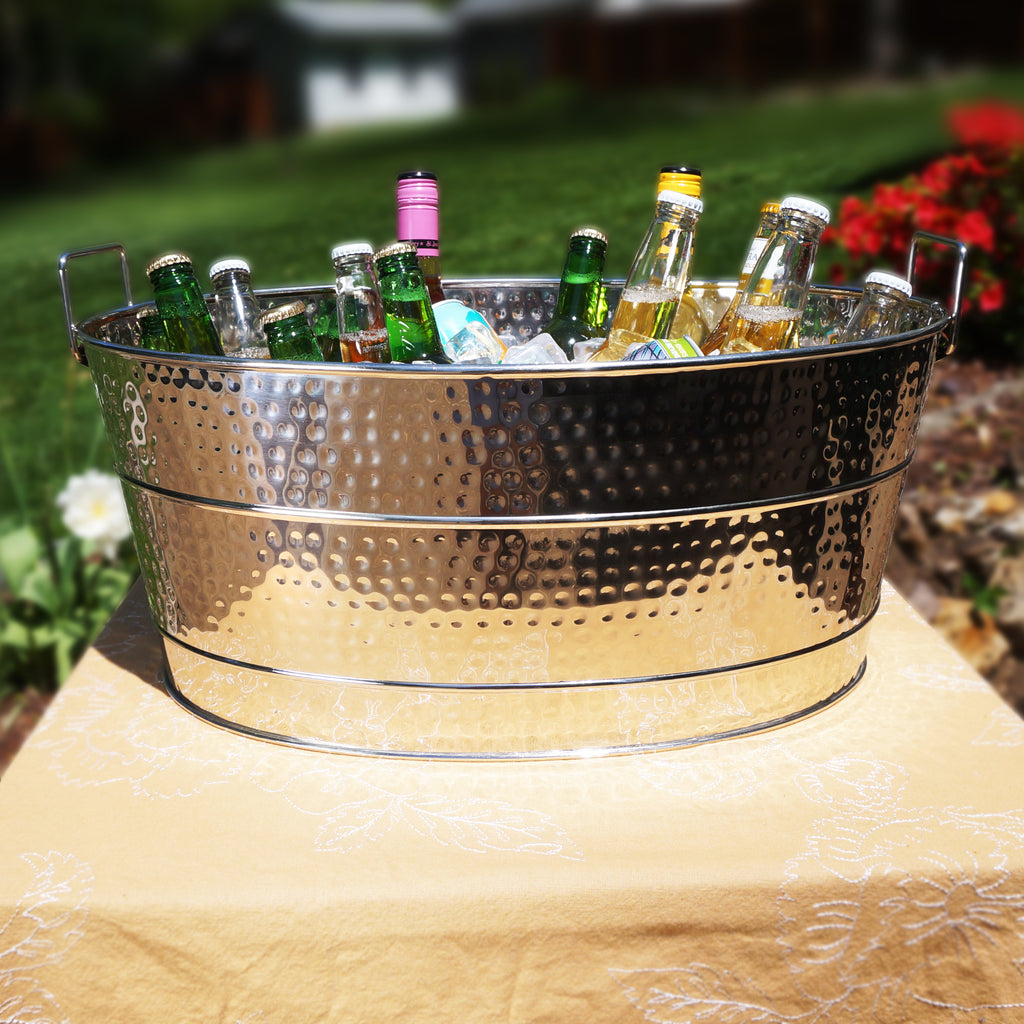 BREKX Aspen Hammered Beverage Tub in Stainless Steel