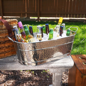 BREKX Colt Hammered Stainless Steel Party Beverage Tub