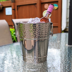 BREKX Berkshire Hammered Wine Bucket in Stainless Steel