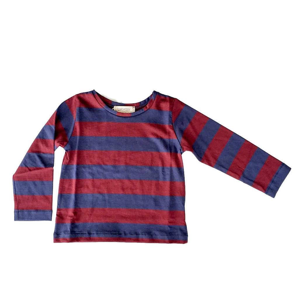 Long-sleeve t-shirt in blue and bordeaux stripes by Il Guardarobino