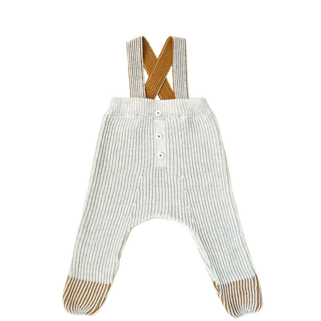 Unisex knit baby and toddler overall spring pants in ecru with bronze contrast by Mabli