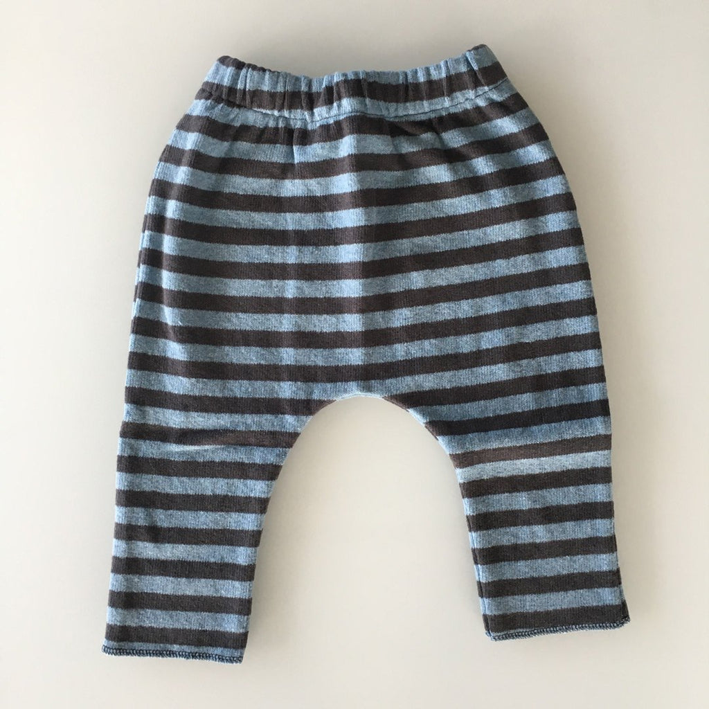 Baggy pants in warm cotton, with blue and anthracite stripes by Il Guardarobino