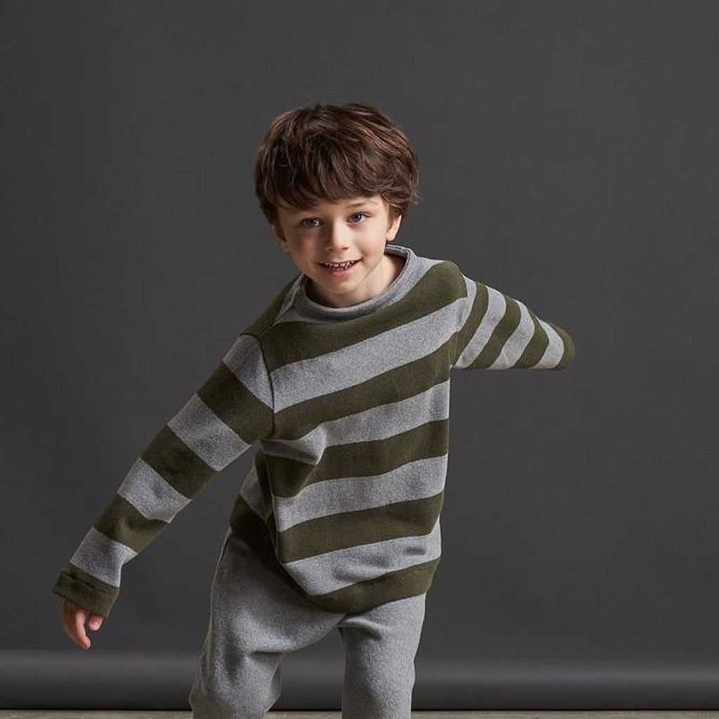 Boys Turtleneck Warm Cotton Sweater Army Green Grey