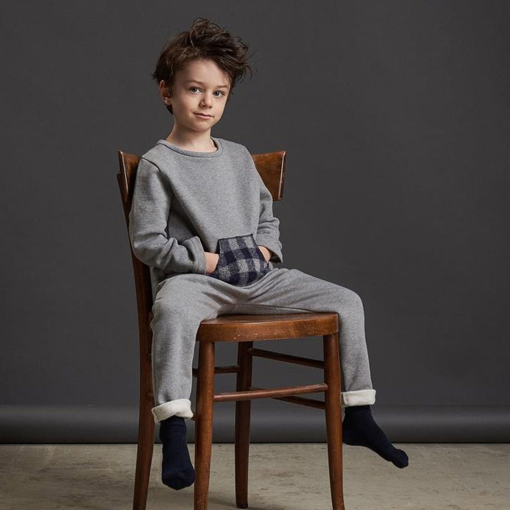 Boys Grey Sweater Front Check Pocket