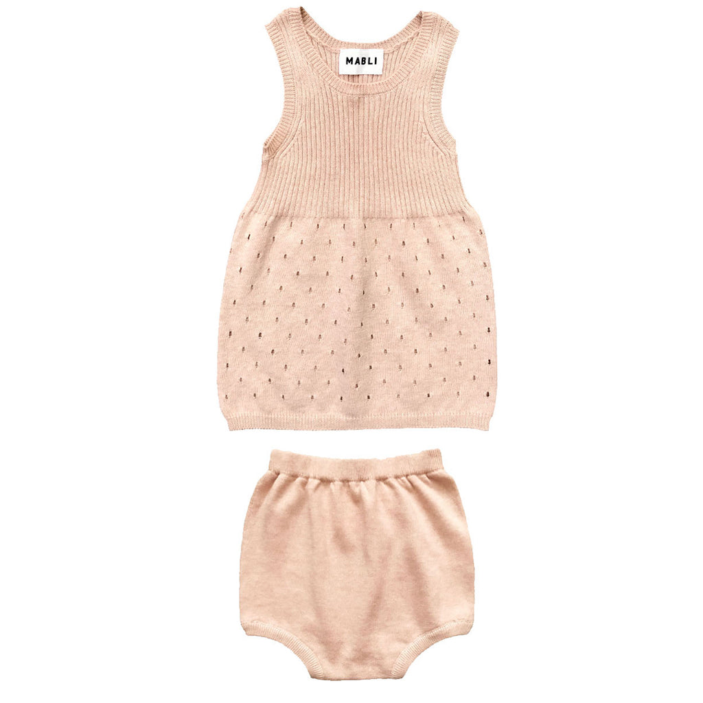 Knitted dress in pearl color with matching bloomers by Mabli