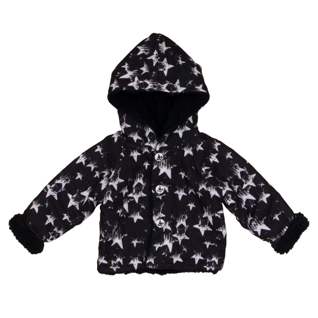Black unisex baby jacket by NoŽ & Zo' with stars printed all over is practical and warm