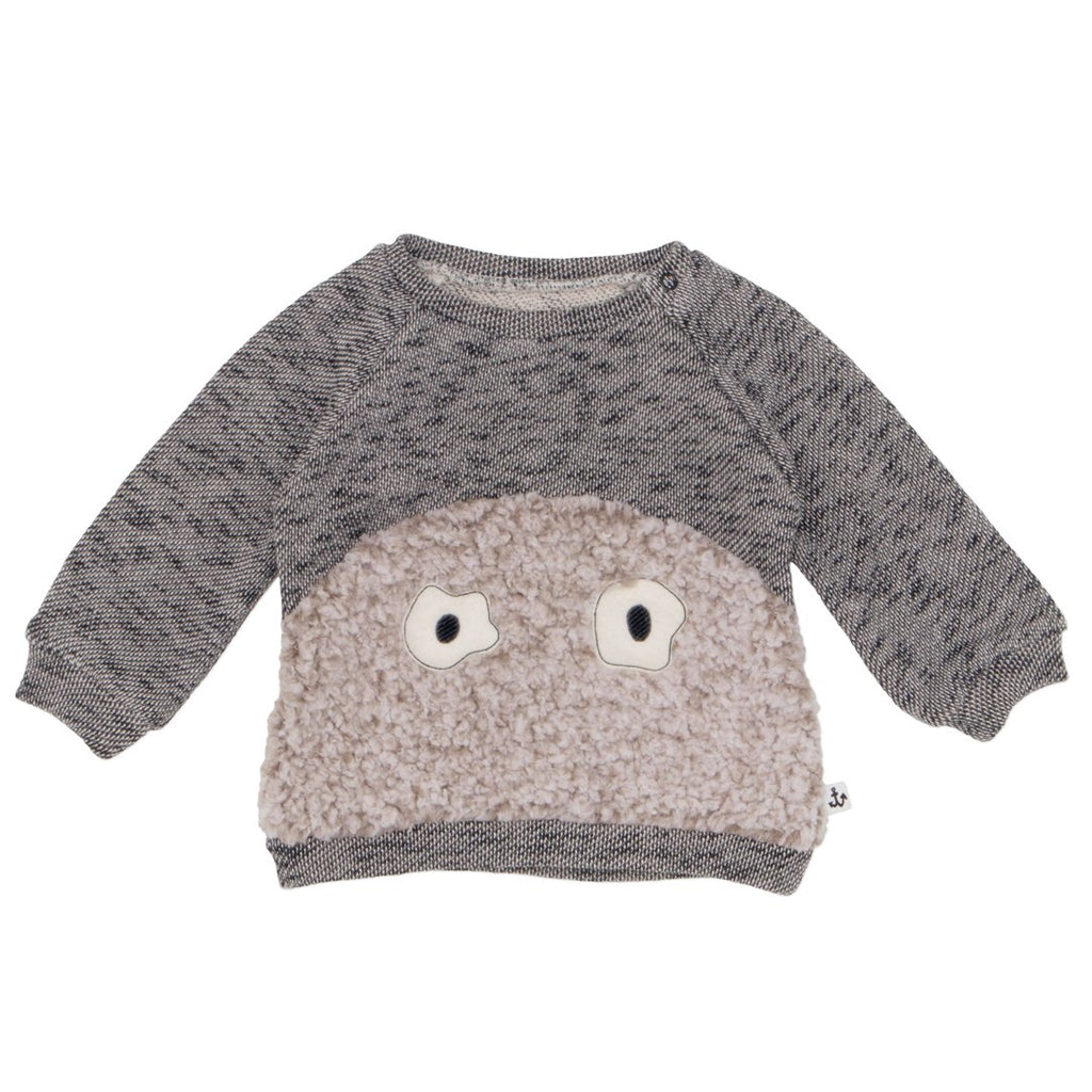 Baby sweater by NoŽ & Zo' in grey with yeti eyes on the front