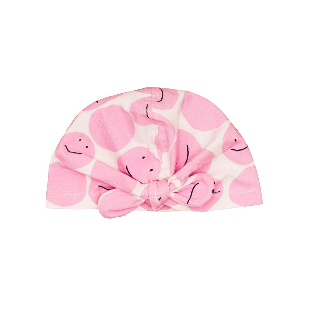 Turban for babies and toddlers, in pink with smileys all over