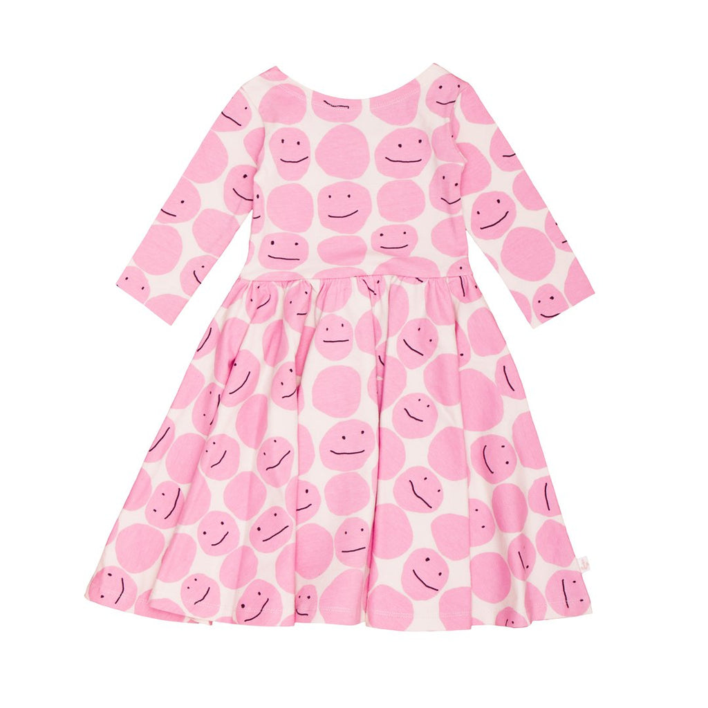 3/4 sleeve dress with pink smileys all over.