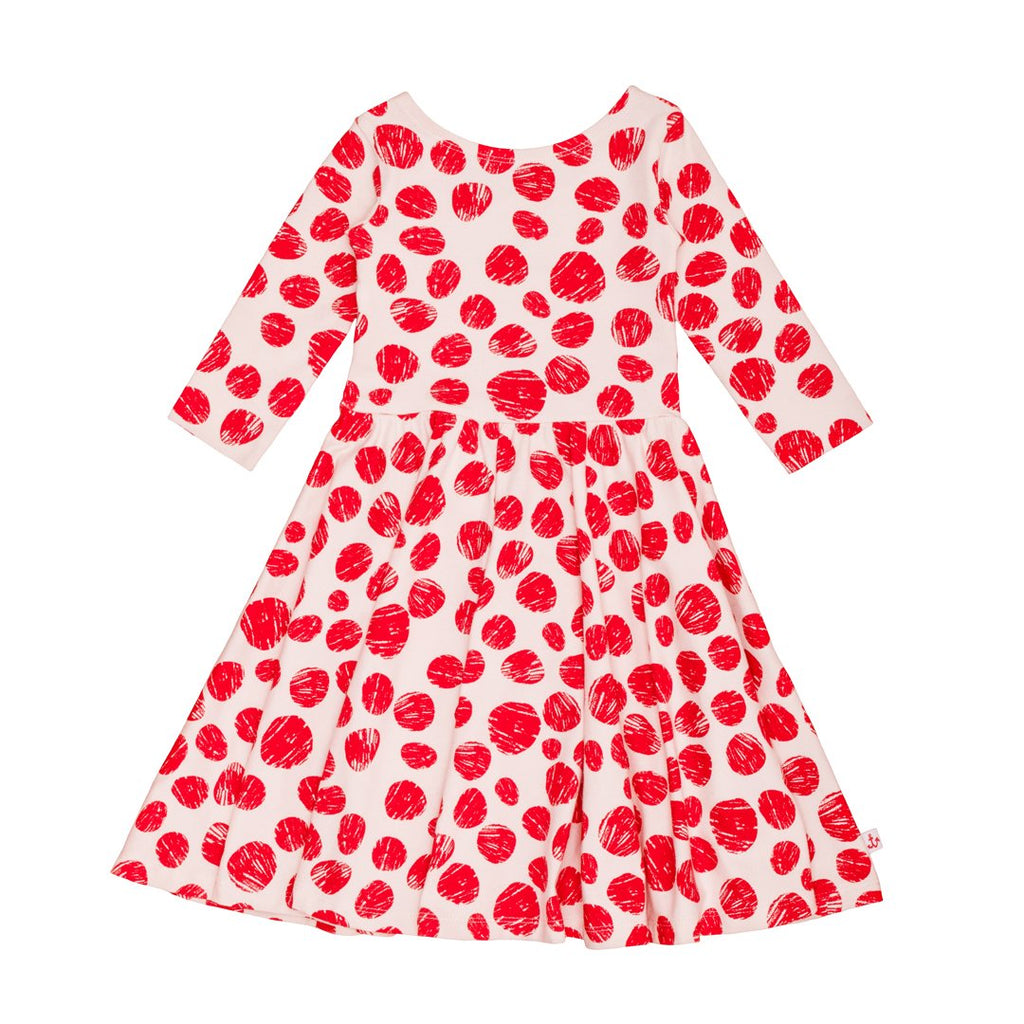 3/4 sleeve dress in cotton and elastan, with large red dots all over.