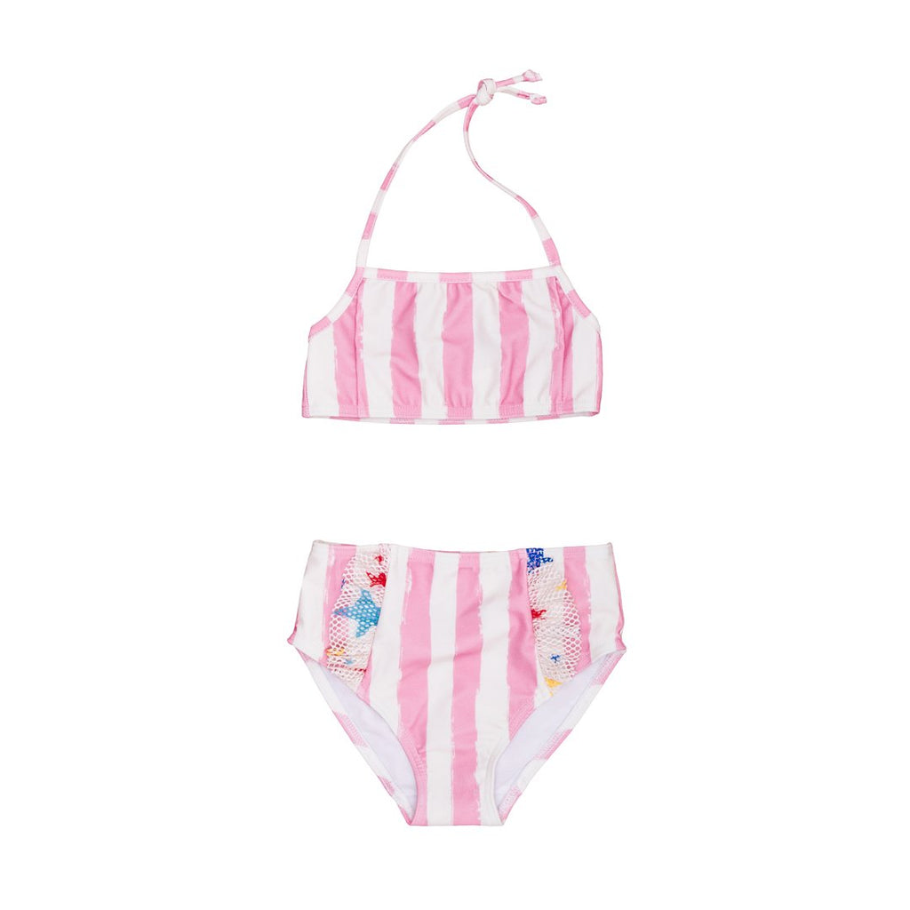 Two-piece swimsuit with white and pink stripes and ruffles on the bottom.  With 50 UV protection factor