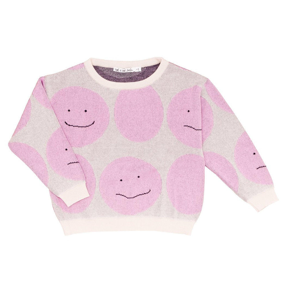 Cotton sweater with large pink dots and smileys all over