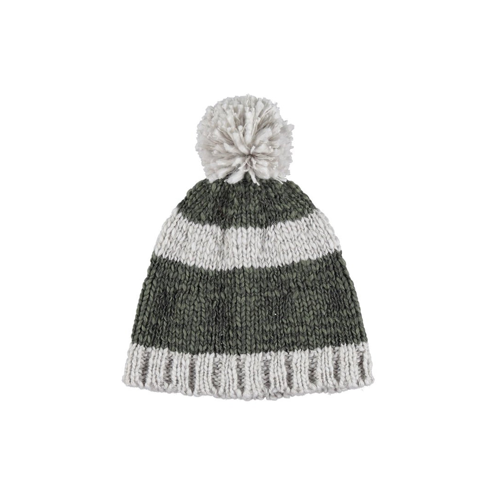 Knitted Hat Grey And Khaki Stripes