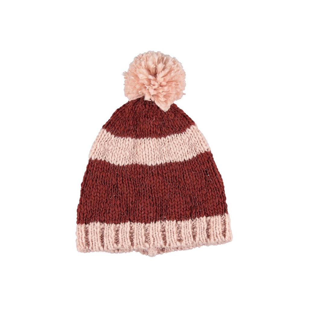 Knitted Hat Pink And Brick Stripes