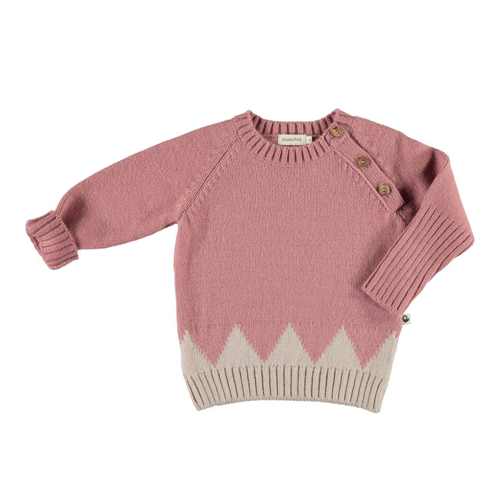 Knitted sweater with wool and angora, in pink and ecru with three side bottons by Piupiuchick
