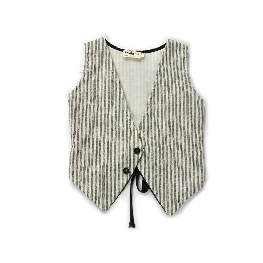 Unisex striped waistcoat with front button by Treehouse