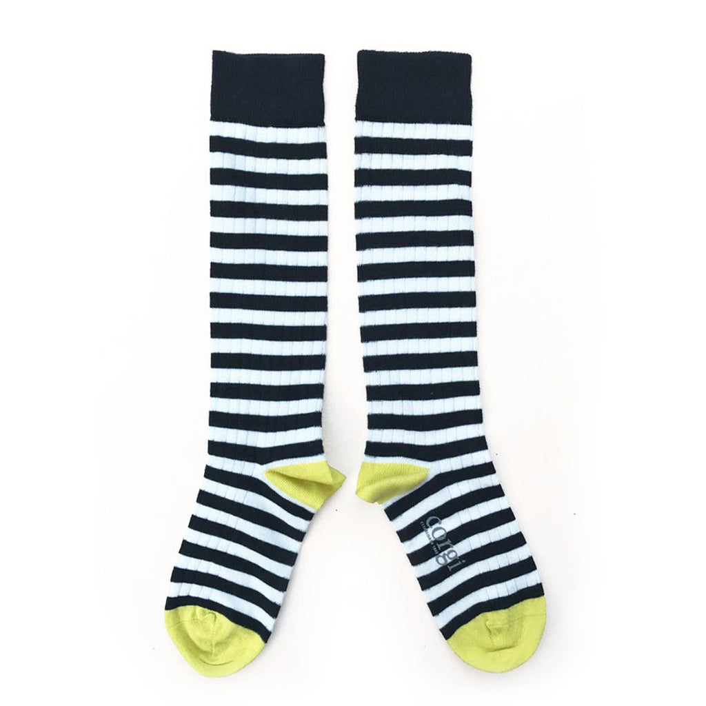 Fine cotton knee-high socks in Navy Made from a high quality Italian-spun cotton