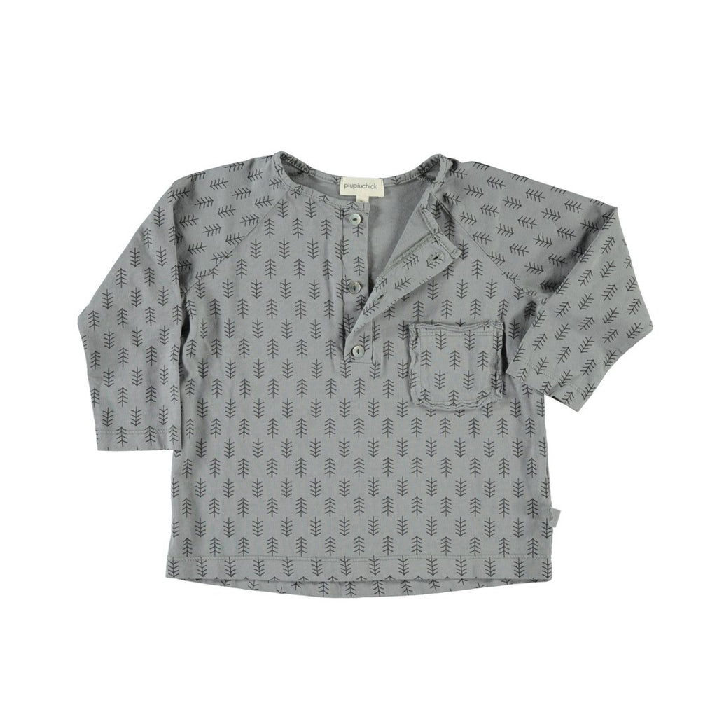 Baby boy long-sleeve t-shirt in gray with printed trees. Features a small front pocket and three buttons.