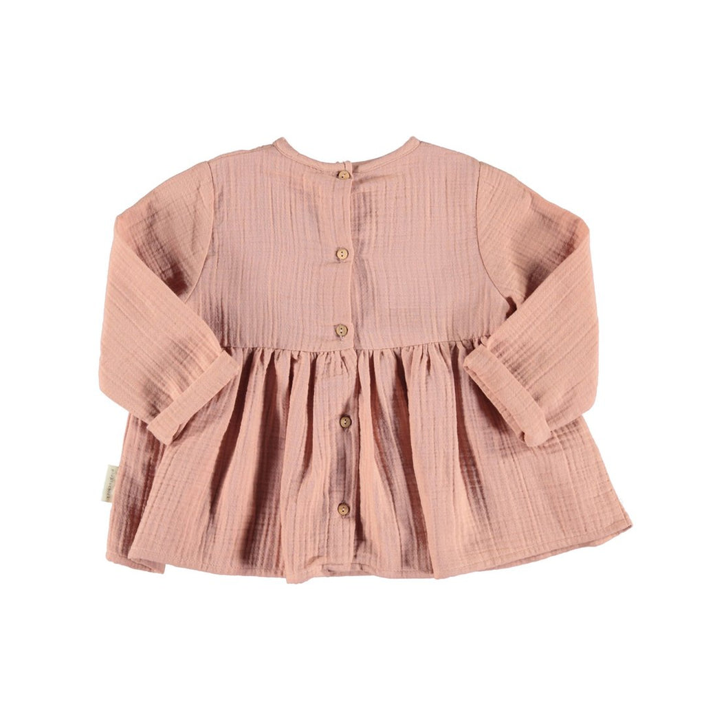 Romantic Cotton Crepe Shirt With Laces Light Pink