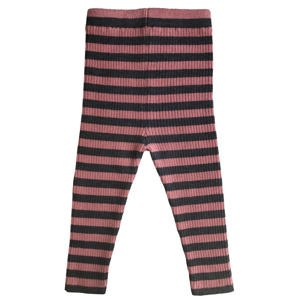 Antique rose stripe baby leggings in 100% Extrafine Merino Wool by Mabli Knits