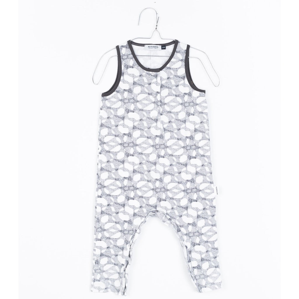 Baby knitted jumpsuit in a halftone print with contrasting neck by Motoreta
