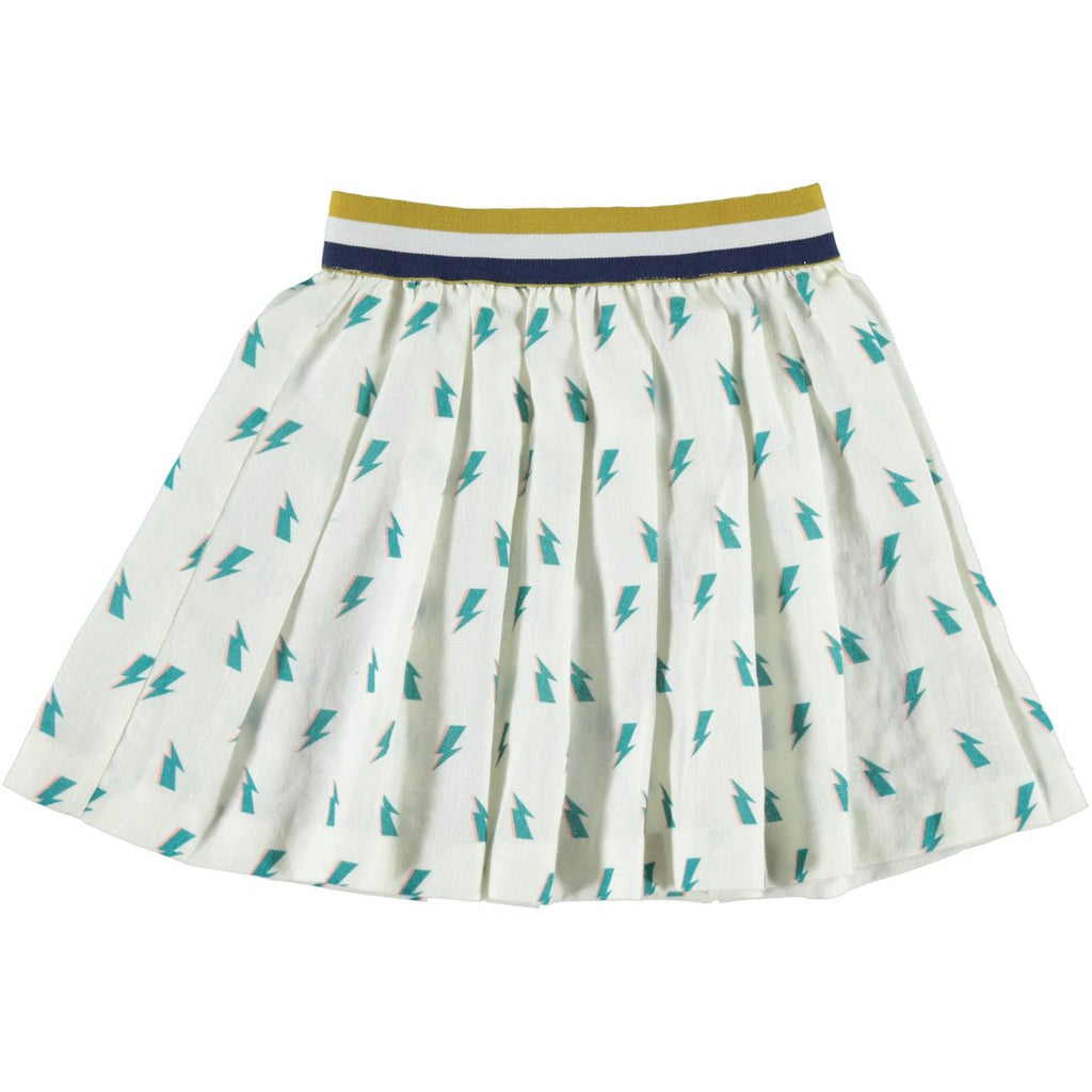 Pleated skirt with bolts all over and a colorful waistband by Piupiuchick