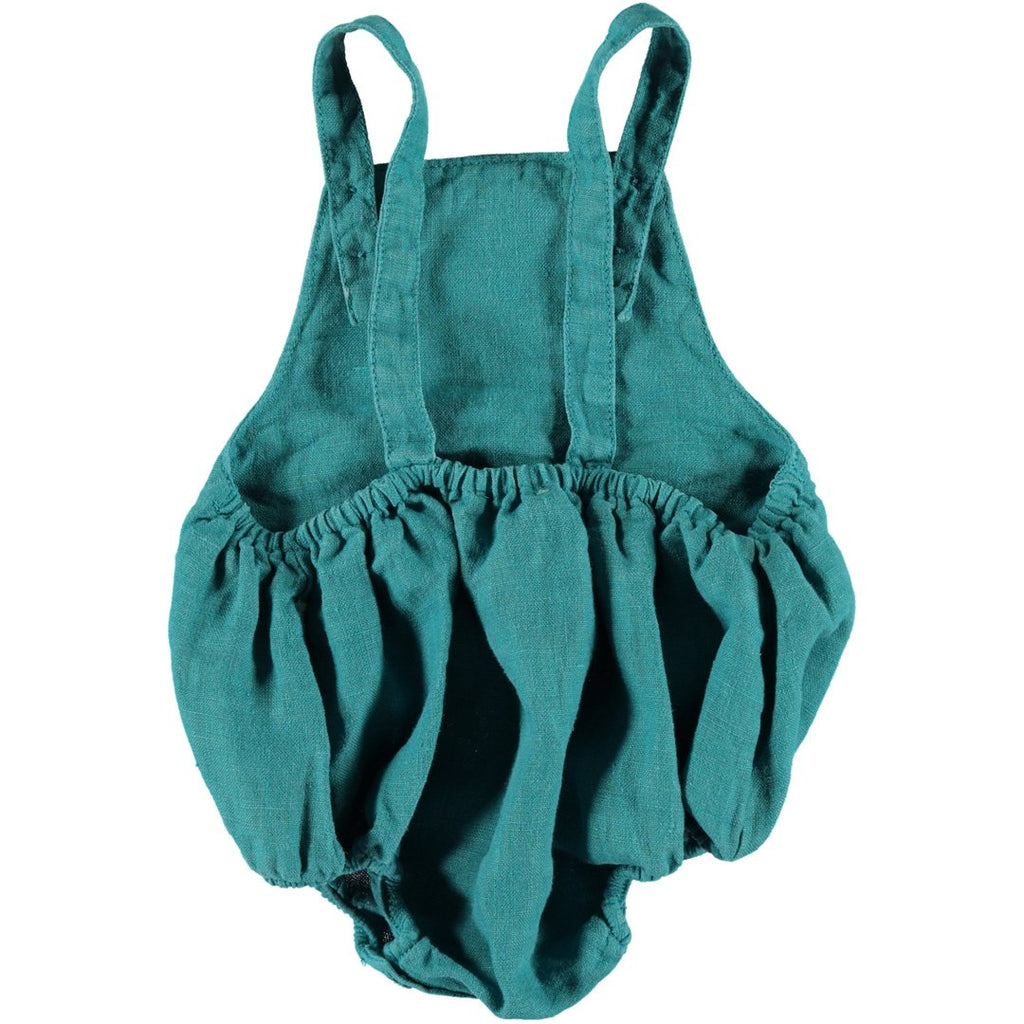 Back of linen unisex baby romper in emerald color with buttons on the bottom by Piupiuchick