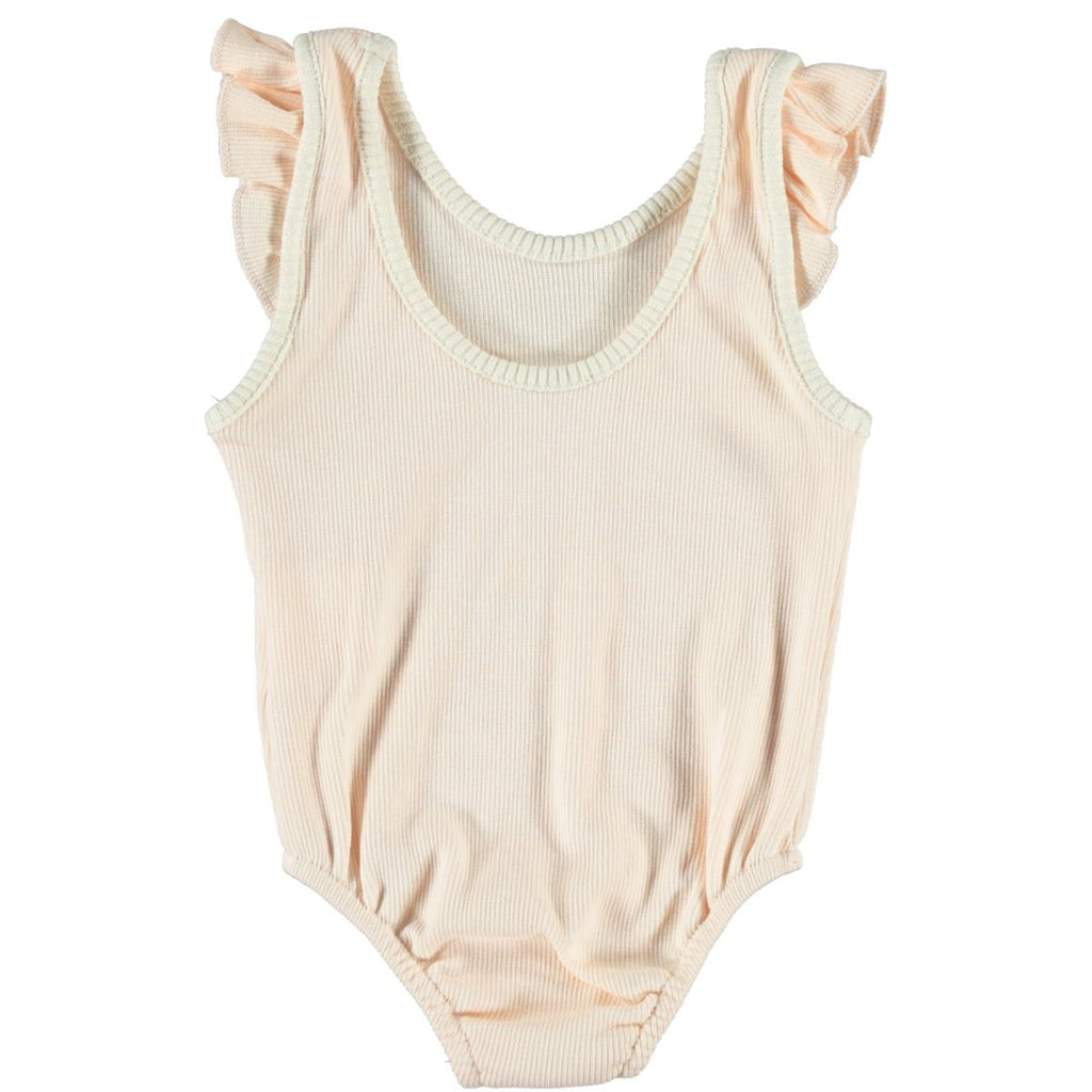 Light pink terry cotton leotard with two buttons on the bottom and ruffles by Piupiuchick