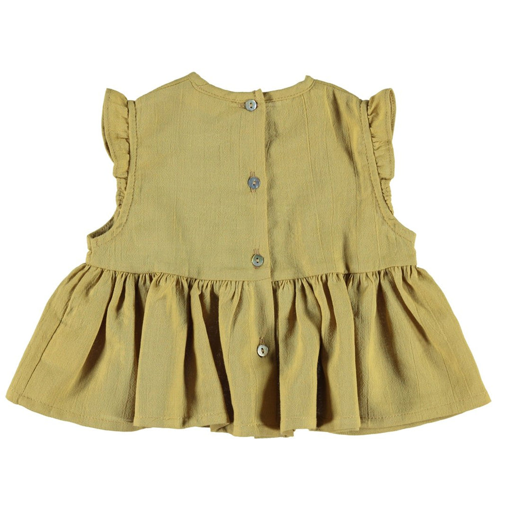 Back of baby girl mustard top with soft laces and buttons on the back by Piupiuchick