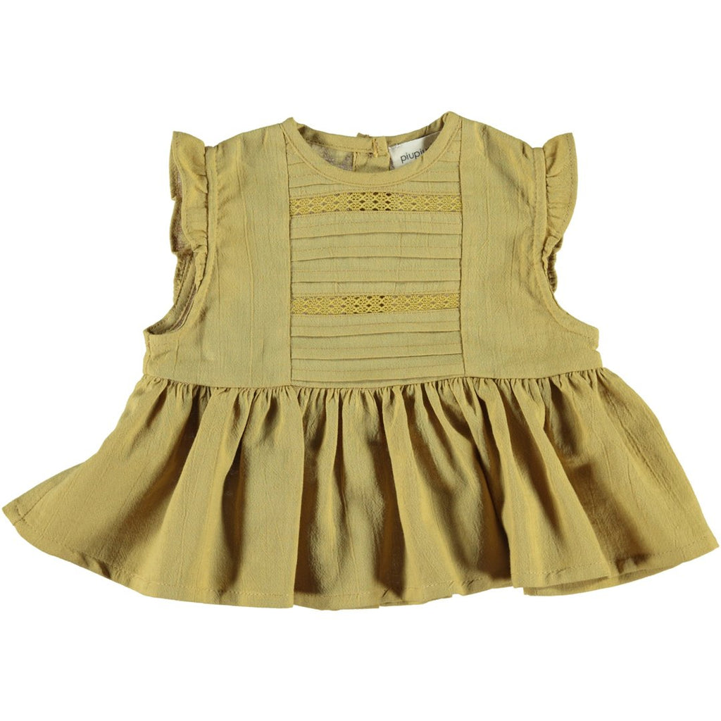 Baby girl mustard top with soft laces and buttons on the back by Piupiuchick
