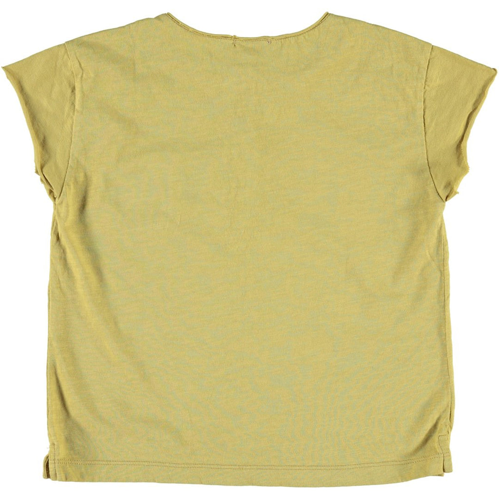 Back of unisex t-shirt in mustard and a front pocket by Piupiuchick